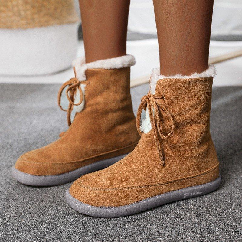 كبيرة الحجم جولة رئيس شقة أسفل أنبوب قصير أنبوب ثلج التمهيد القطن الأحذية الكاحل أحذية منخفضة أعلى النساء الكلاسيكية الأحذية المألوف
