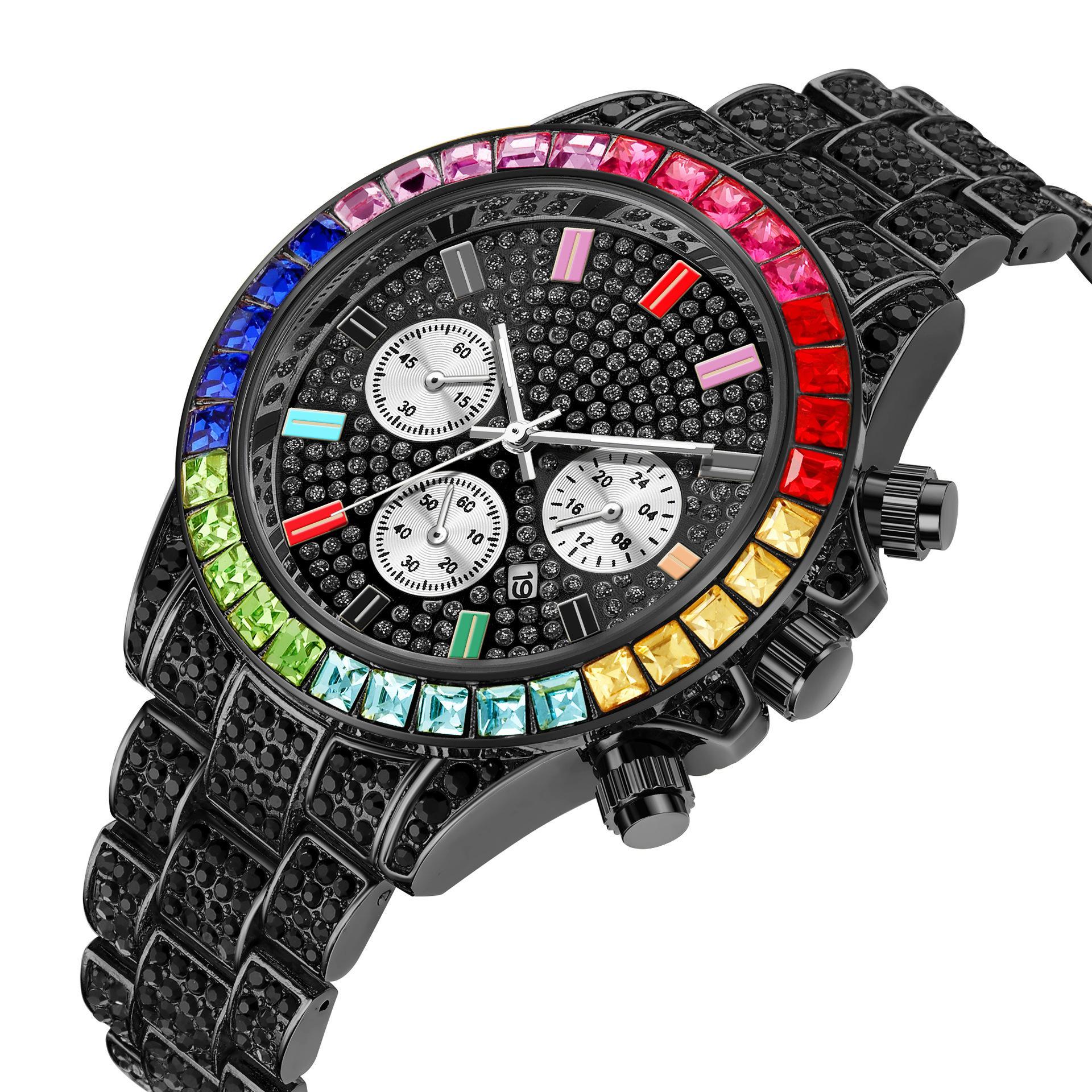 Nouvelle annonce Montre à quartz de luxe pour hommes de luxe Genève Faux de trois yeux en acier inoxydable de diamant Quartz Watch