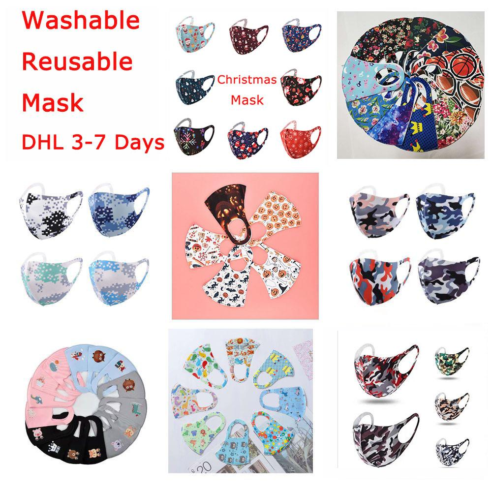 Máscara de Chrismas Máscara 3D Face Mask para Adulto Crianças Máscara de Seda de Halloween Anti-Bacteriana Lavável Máscaras Reutilizáveis Com Saco IndivIual Rápido DHL
