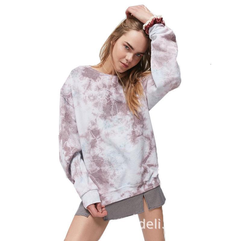 tie dye 2020 T-shirt solta casuais impressa para o Outono mulheres e inverno camisola nova da mulher