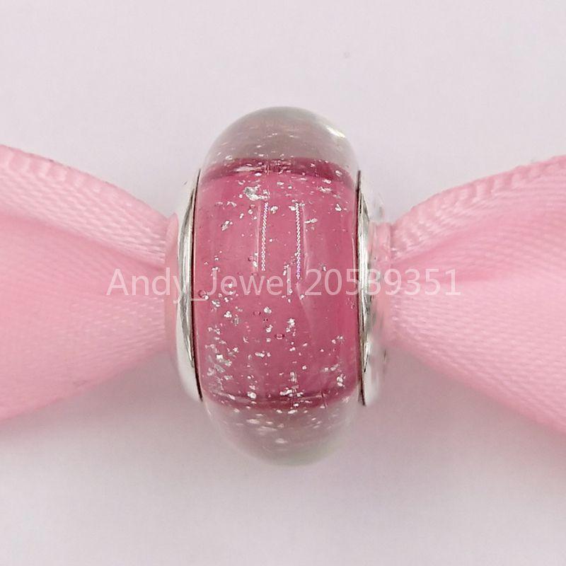 Autentico 925 perline in argento sterling DSN Annnaa Charm in argento con fluorescente rosa Charms di vetro di Murano adatta gioielli in stile Pandora europeo