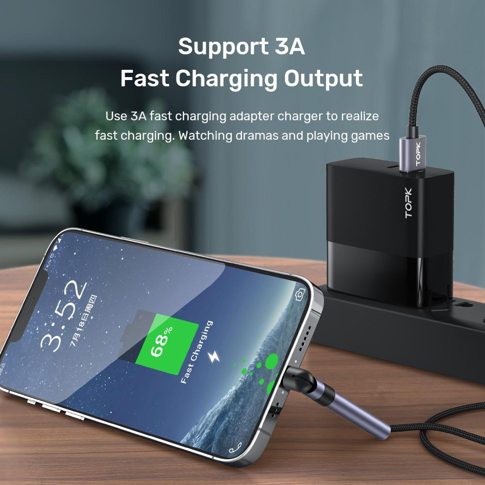 Topk عالية الجودة AN26 3A مايكرو USB نوع C كابل سريع شحن 3.0 حامل الهاتف شحن سريع نوع-C USB C كابل لسامسونج Xiaomi FY7436