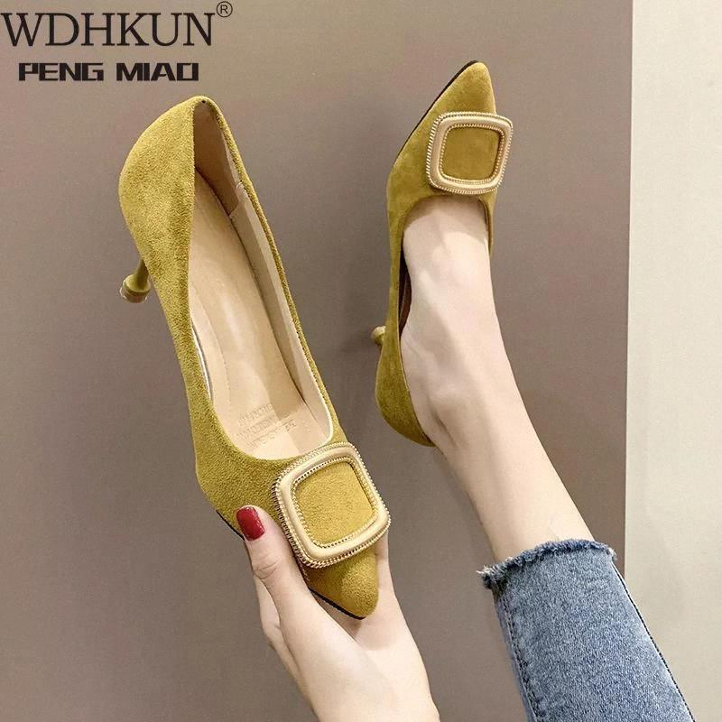 2021 new spring new pointed high-heeled suede shoes europe america style large size 43 was thin wild women's shoes #Hk1r