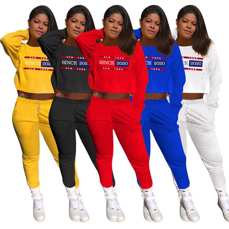 Donne Autunno Inverno tuta insieme delle 2 parti con cappuccio + vestito di pantaloni Lettera Sport lunghe Outfits manica girocollo camicia + Leggings Moda abbigliamento 4083