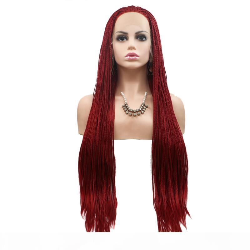 Box Braid Lace Wig Red Color Heat Resistant Fiber Synthetic Hair Glueless Box Braids Lace Front Braided Wigs For African American Women