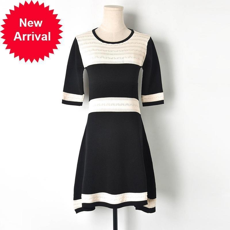 Female 2021 New Elegant Black-white Autumn Couture Sexy Hollow Sleeves Knit a Midwaistline Midi Dress Party Clothes 9GLL