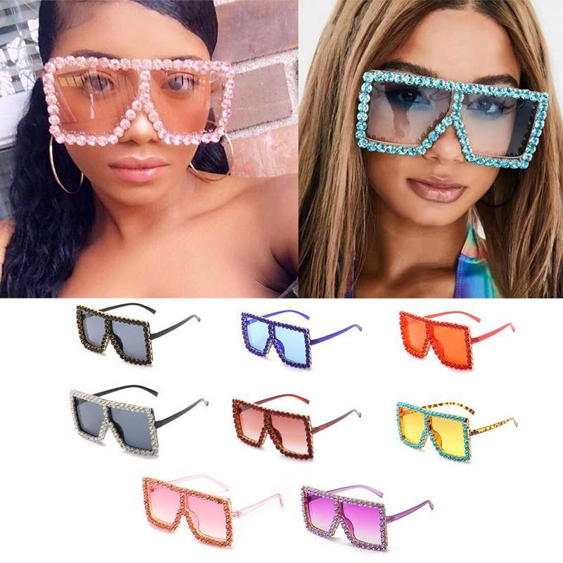 Shades Lunettes de soleil surdimensionnées de diamant pour strass Crystal Crystal Candy UV400 Sexy Lunettes Sunglasses transparentes Femmes Mode Femmes FR Ulto