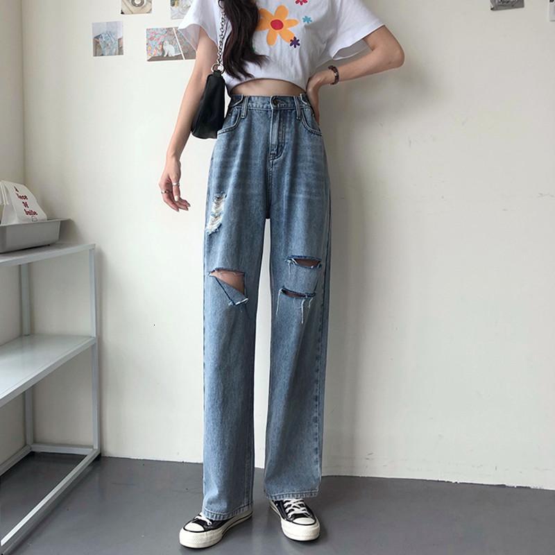 2021 NOUVEAU S-XL Coréen Summer Élégant Femmes Long Femme Pantalon Bordon Taille Jeans droite pour Femmes (78385) I3QJJ