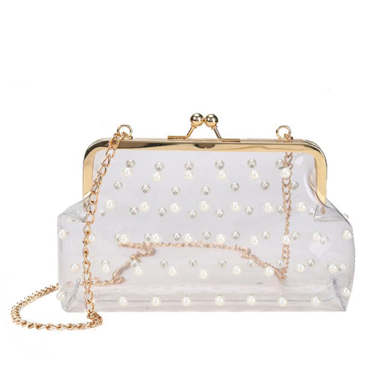 Design d'été Clear Pearl Bandbody Sac Mini Jelly Sac à main Sacs Beach Sacs Fashion Dames Sacs à bandoulière transparente # Bl3