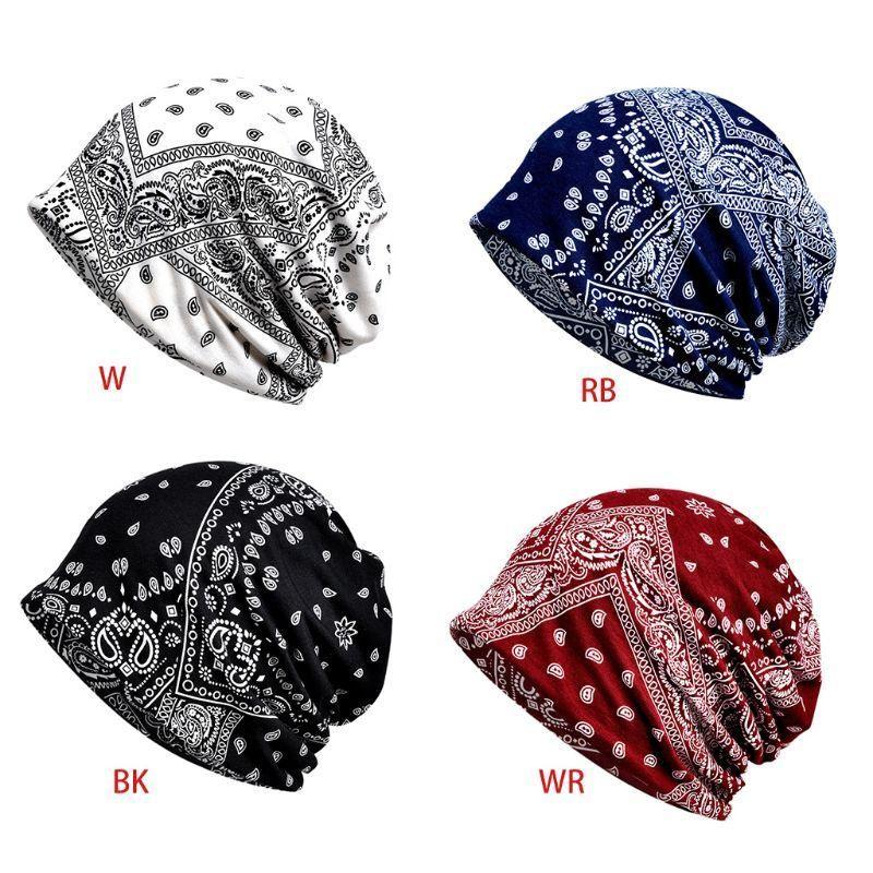 Men Women Bohemian Multifunctional Infinity Scarf Hat Retro Paisley Floral Print Hip Hop Cycling Sport Slouchy Beanie Chemo Cap
