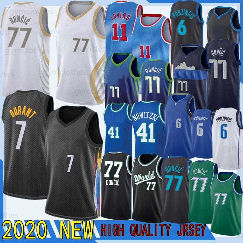 77 Doncic Kevin Kyrie Luka Irving Durant Hombres Jersey Kristaps 6 Porzingis 2020 NCAA Baloncesto Jersey 41 Nowitzki New Jersey Irving Durant