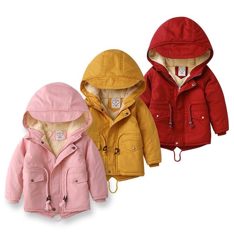 Kurtki Iyeal Kid Girls Boys Jacket Plus Futro Ciepłe Maluch Dzieci Zima Zima Girl's Cotton Padded Odzież Baby Zagęszczona odzież wierzchnia