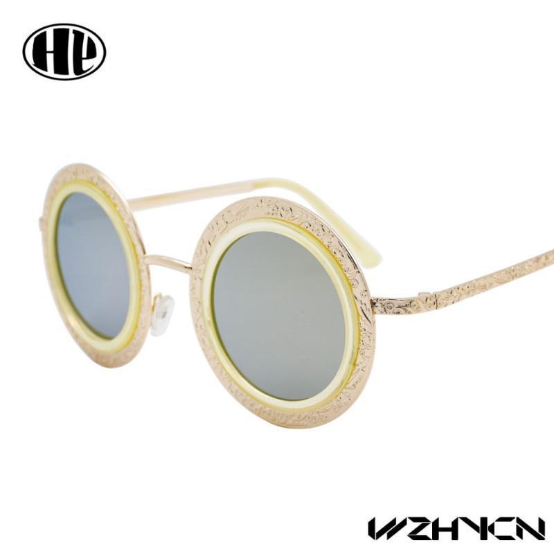 Nueva moda de aleación de aleación polarizada gafas de sol diseño metal gafas de sol hombres mujeres vintage sol gafas de sol redonda