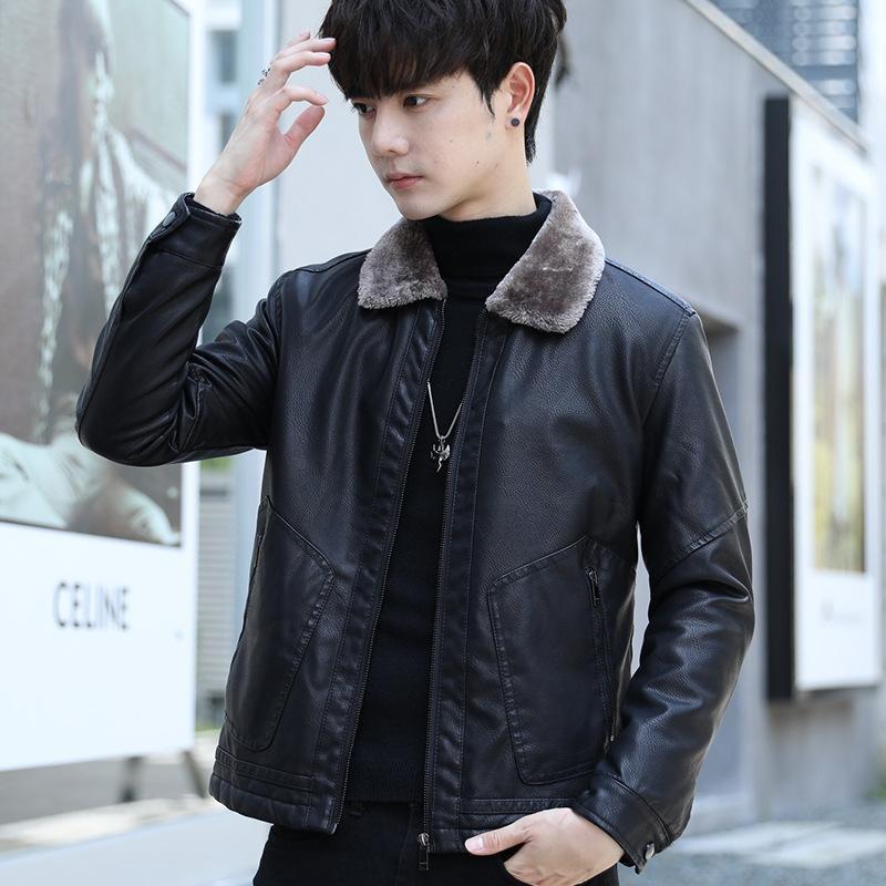 2020 neue Winterlederjacke Plüsch und verdickte Männer Slim Fit Koreanische Jugend Hübsche Mantelmode Marke