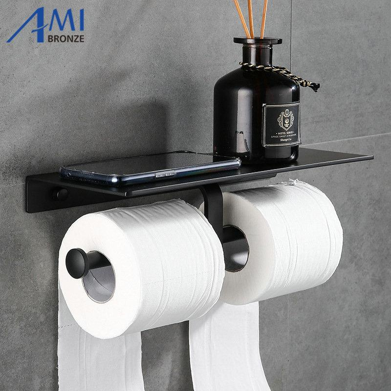 Pintura negra Tenedor de papel de doble papel Accesorios de baño montados en la pared Teléfono Estante de inodoro Material de aluminio Y200108