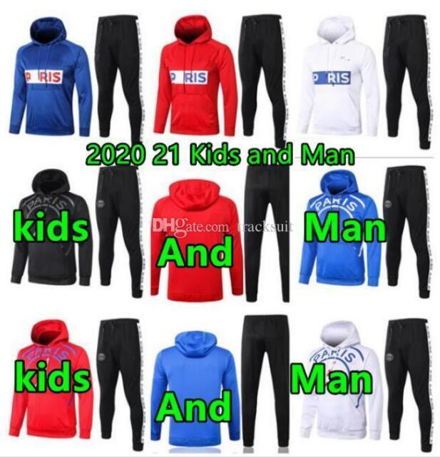 2020 2021 Mann und Kinder Fußball Trainingsanzug 20 21 Pariser Hoodies Kinder FR Football Jacken Trainingsanzüge Training Jogging Anzug Jacket Kit