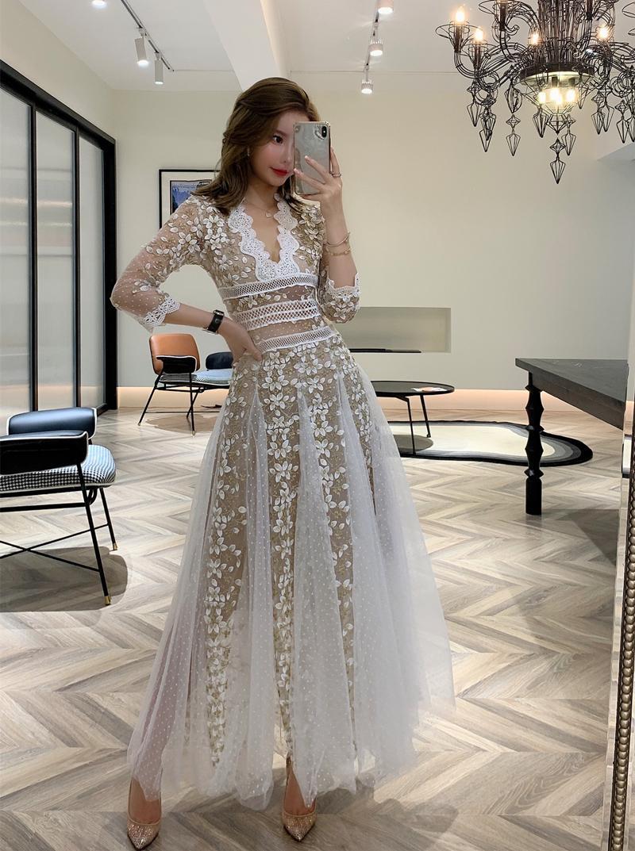 الرباط الربيع امرأة الملابس التطريز شبكة بيضاء والأسود امرأة طويلة الأكمام الخامس الرقبة الرباط طويل فساتين بيضاء حزب لسيدة vestidos 2021 جديد