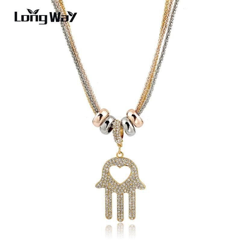 Langway Vintage Hand Anhänger Lange Halskette Österreichische Kristall Gold Farbe Sommer Sammlung Multi Layer Schmuck SNE160006103