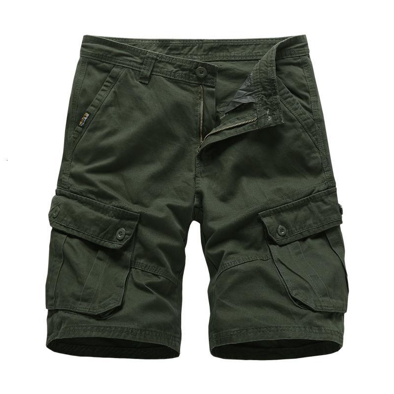 2021 Yeni kargo şort pamuk erkek pantolon askeri tarzı cepler iş düz siyah kısa pantolon rahat ordu yeşil shors adam vdab