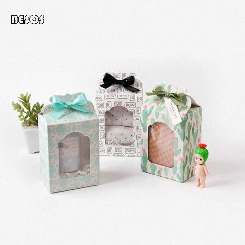 Taze Basit Beyaz Arka Plan Harf Cactus Rhomboid Festivali Kutlama Parti Doll Çorap Toptan Hollow Kağıt Hediye Kutusu B238D VCPn #