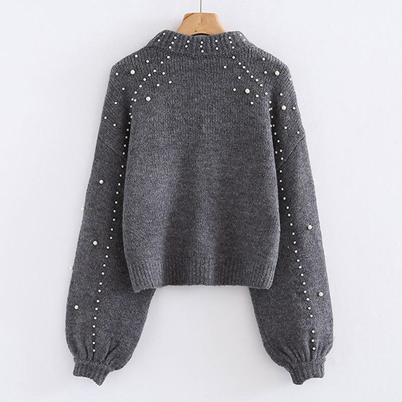 BigSweety Mulheres Turtleneck Suéteres Pearl Beading Sweater Outono Inverno Quente Lanterna Sleeve Mulheres Jumper Pull Bullvers