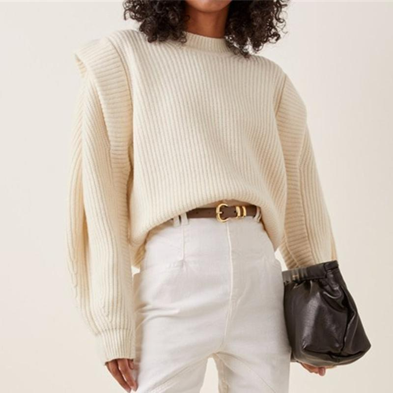 2020 Winter Thick Warm Sweater Women Designer Pullover Half High Neck Fake Double Sleeve Casual Loose Sweaters Lazy Oaf Jumpers
