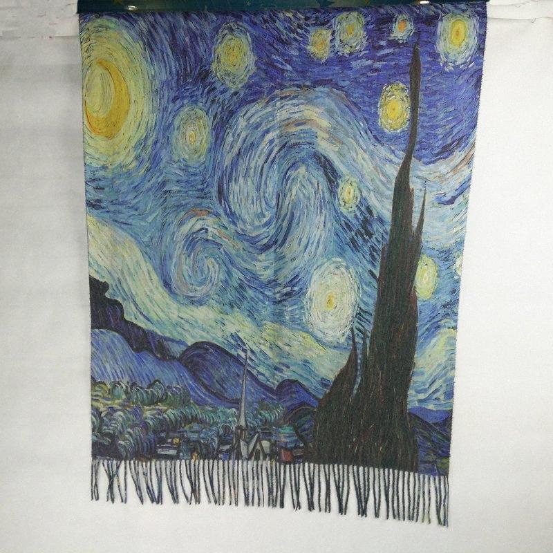 Spanien Art und Weise Frauen-Winter KlimtVan GoghÖlgemälde Kaschmir-Schal-Schal Foulard Bandana Frauen Wraps Schals LL180828 B6Bj #