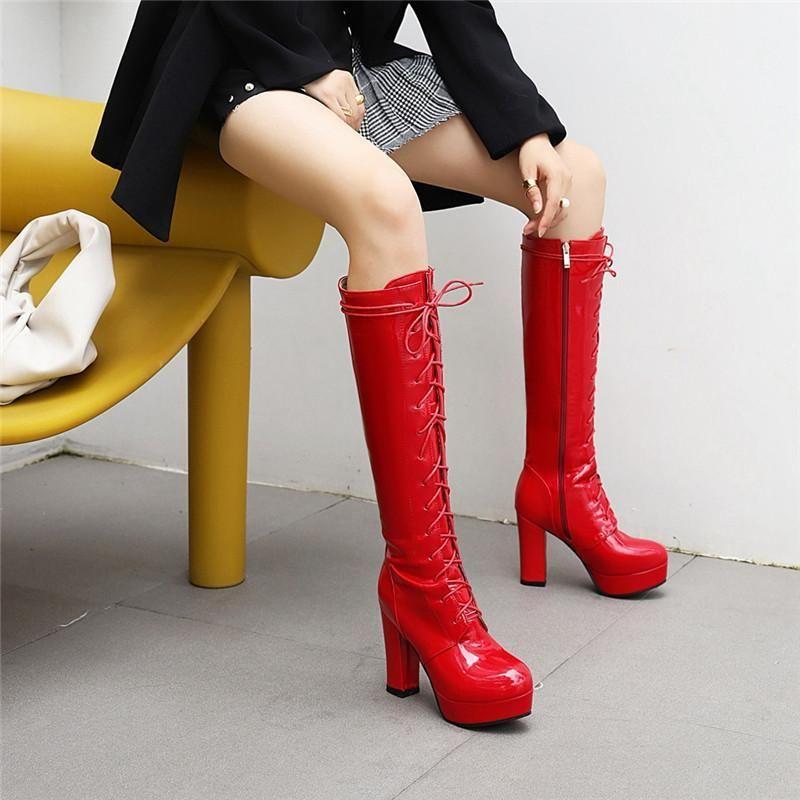 YMechic 2020 зимняя патент PU кожаный красный черный белый длинный рыцарь кросс завязанный колено высокие кружевные ботинки платформа на высоком каблуке обувь 431