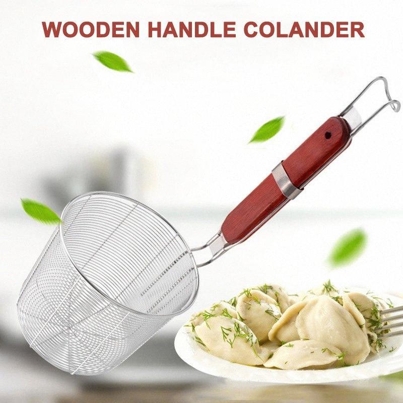 Herramienta de nueva manija de madera filtro de acero inoxidable cesta Skimmer de cocina para pasta de fideos TE889 tz8M #