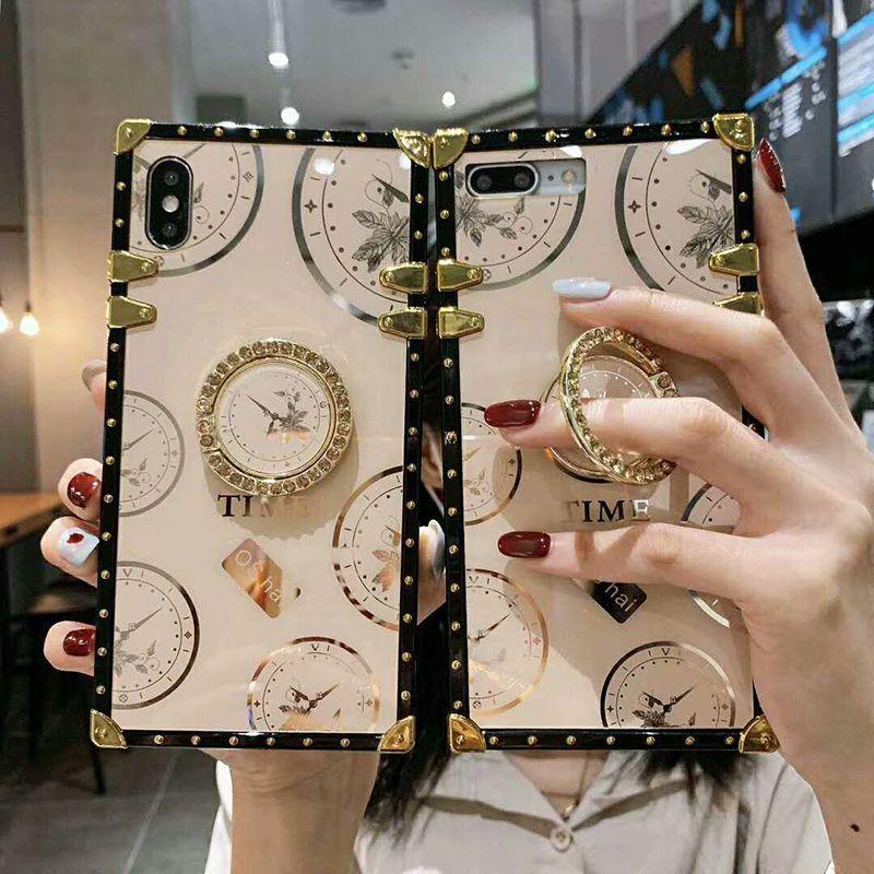 Material de patrón de tiempo brillante más nuevo Funda telefónica cuadrada para iPhone 12 Mini 11 Pro 7 8 Plus X XR XS Max Reloj Reloj Cover Wholesale DHL