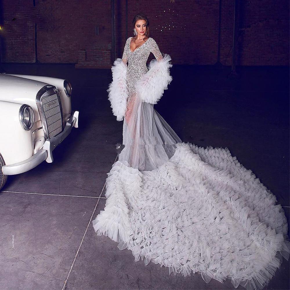 Ruffles inchado mangas compridas nupcial Manto Cape Mulheres envoltório para vestidos de noiva Robe Para vestidos de casamento Manteau Cape Wraps (Apenas Tulle Manto)