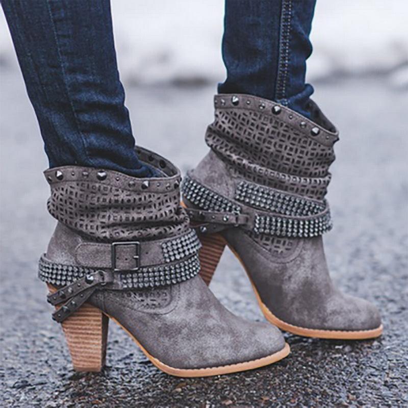 Neue Mode Frauen Stiefel High Heels Schuhe Für Weibliche Strap Schnalle Schuhe Damen Kurzstiefel Leder Ankle Boots 201126
