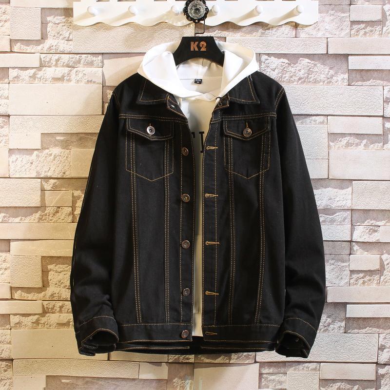 Spring Automne Nouveau Denim Jacket Mens Casual Fashion Version coréenne Mode Épaissie Gardez la veste de denim chaud