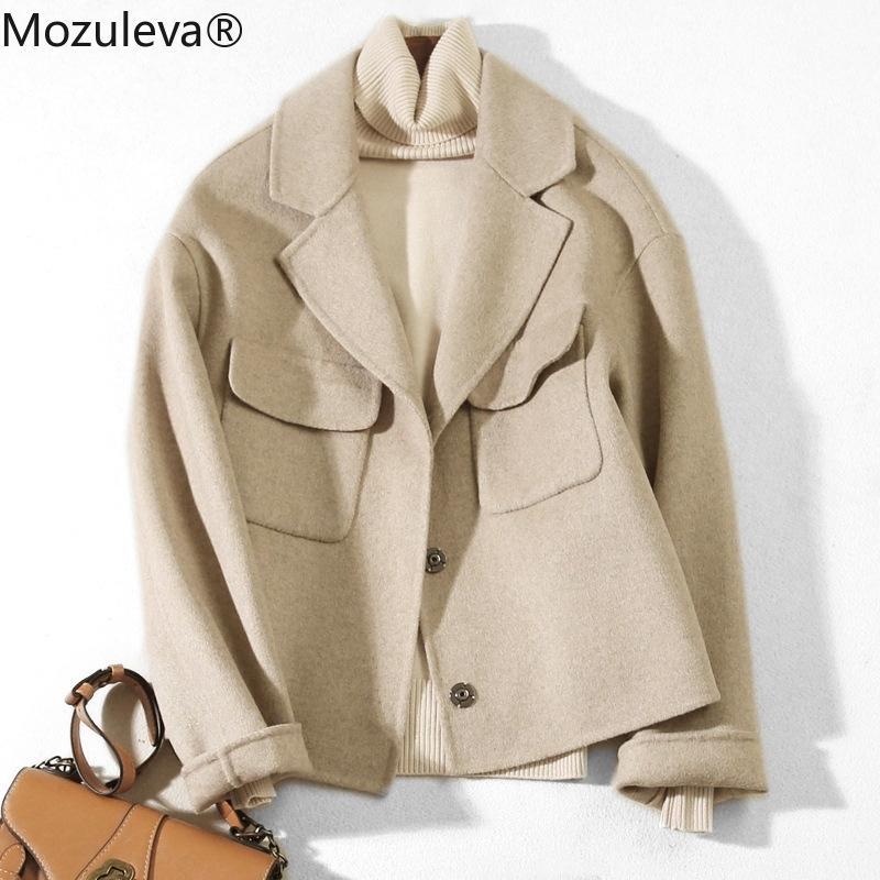 Manuale Mozuleva doppia faccia cappotto di lana di nuovo stile per l'autunno e l'inverno Double Sided giacca di lana Giacca felpata delle donne 201009