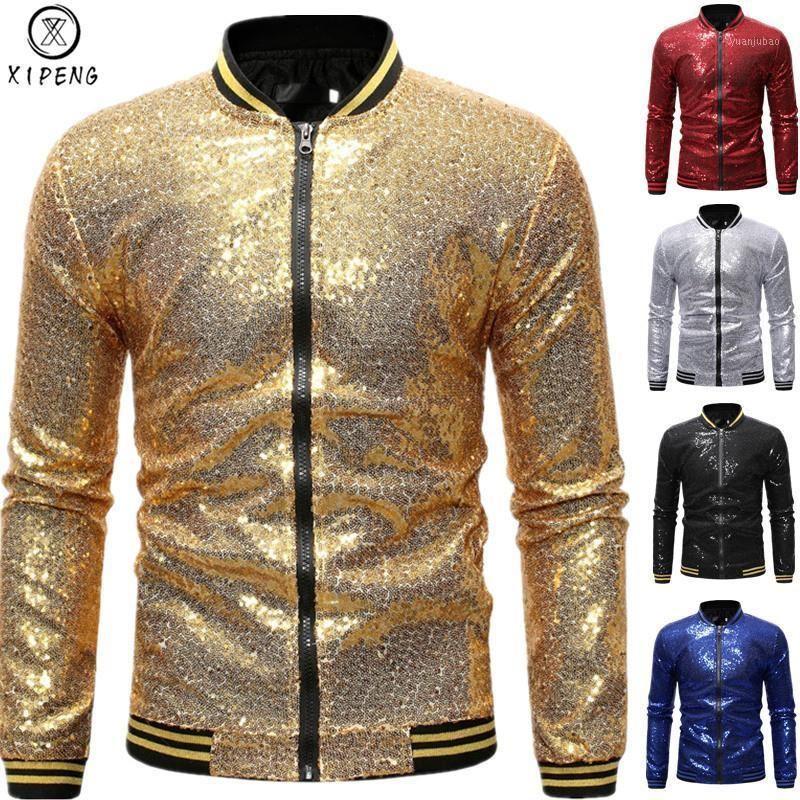 Vestes de bombes à paillettes Gold brillantes pour hommes 2021 Brand New Sequins Jacket de baseball Men Club DJ Scène Singer Jacket Veste Homme XXL1