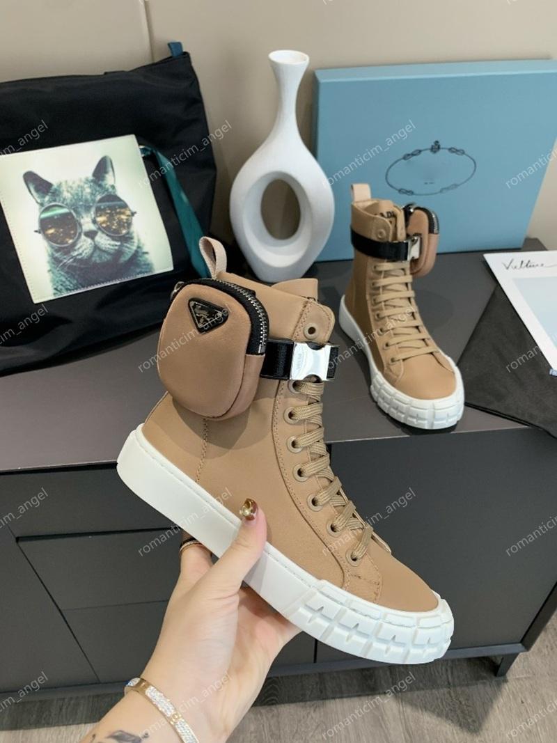 Prada Shoes Çıkarılabilir naylon lastik sırtına sahip kadınlar ve erkekler kemeri için 2020 Top Fırçalı Rois Deri ve Naylon Çizme Martin ayakkabılar ayak bileği savaş botları