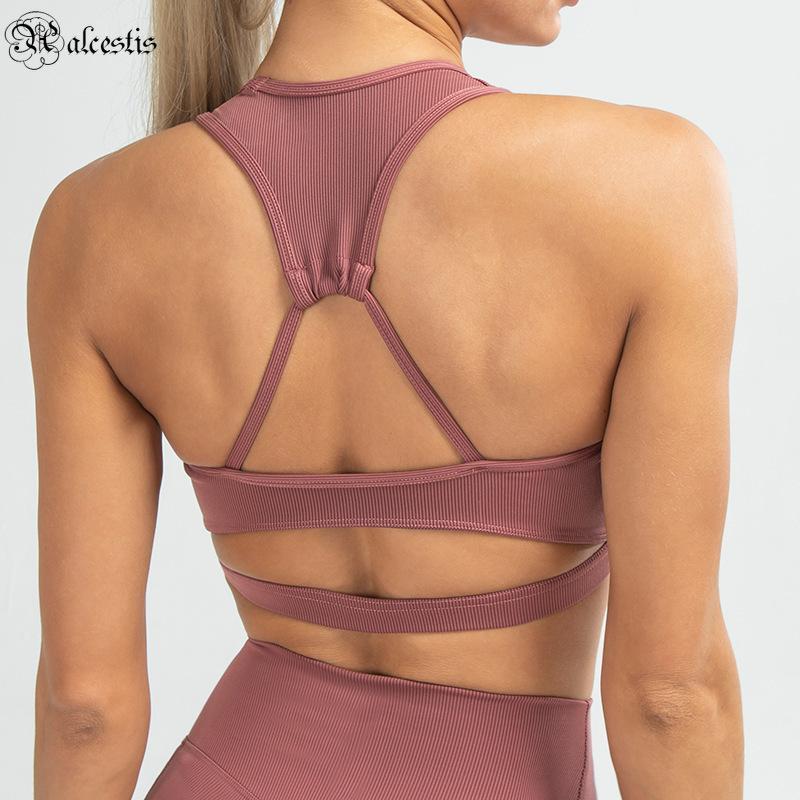 2021 Seamless Sports Sutiã à prova de choque recolhendo esportes de alta intensidade underwear de volta yoga vestido top
