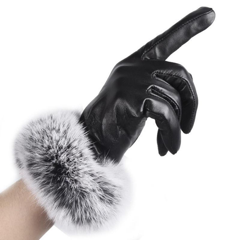 Leather Glove PU del 1 Coppia Donne / Guanti in pelle scamosciata velluto Winter Driving pelliccia calda schermo all'aperto tocco Bow Guanti Mittens