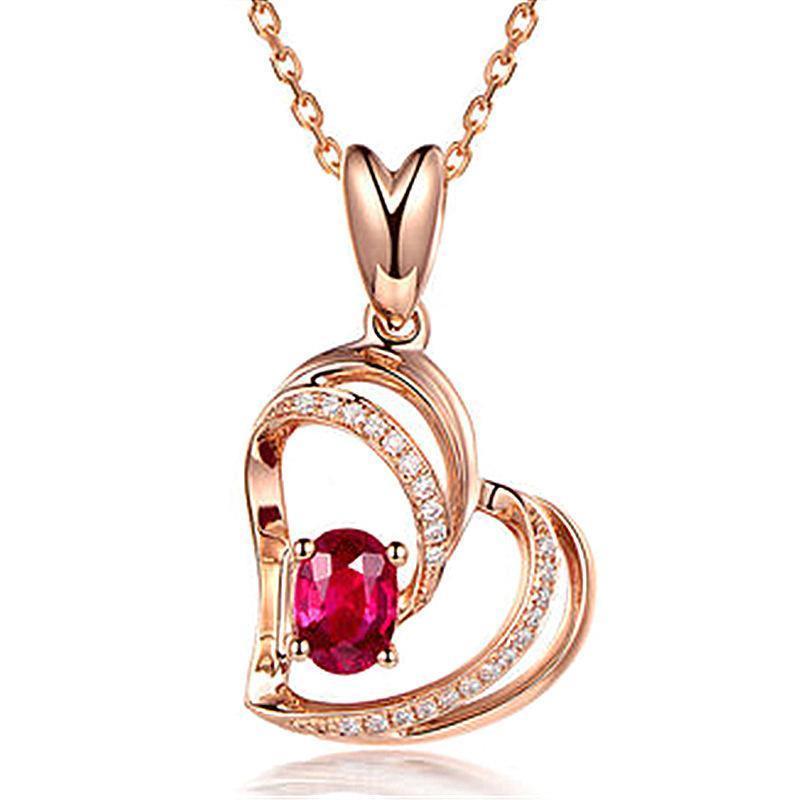 الأحمر الماس القلب قلادة روز سلاسل قلادة من الذهب قلادة القلب للنساء الأزياء والمجوهرات الإرادة وهدية الرملية