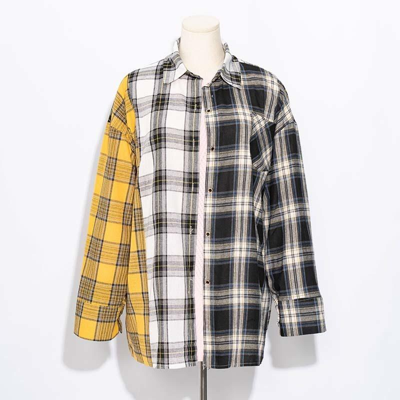 ALLKPOPER KPOP Plaid Shirt Women Bangtan Boys SUGA Blouse Korea Fashion Plus Size Casual Spring Autumn Splice Shirts T200722