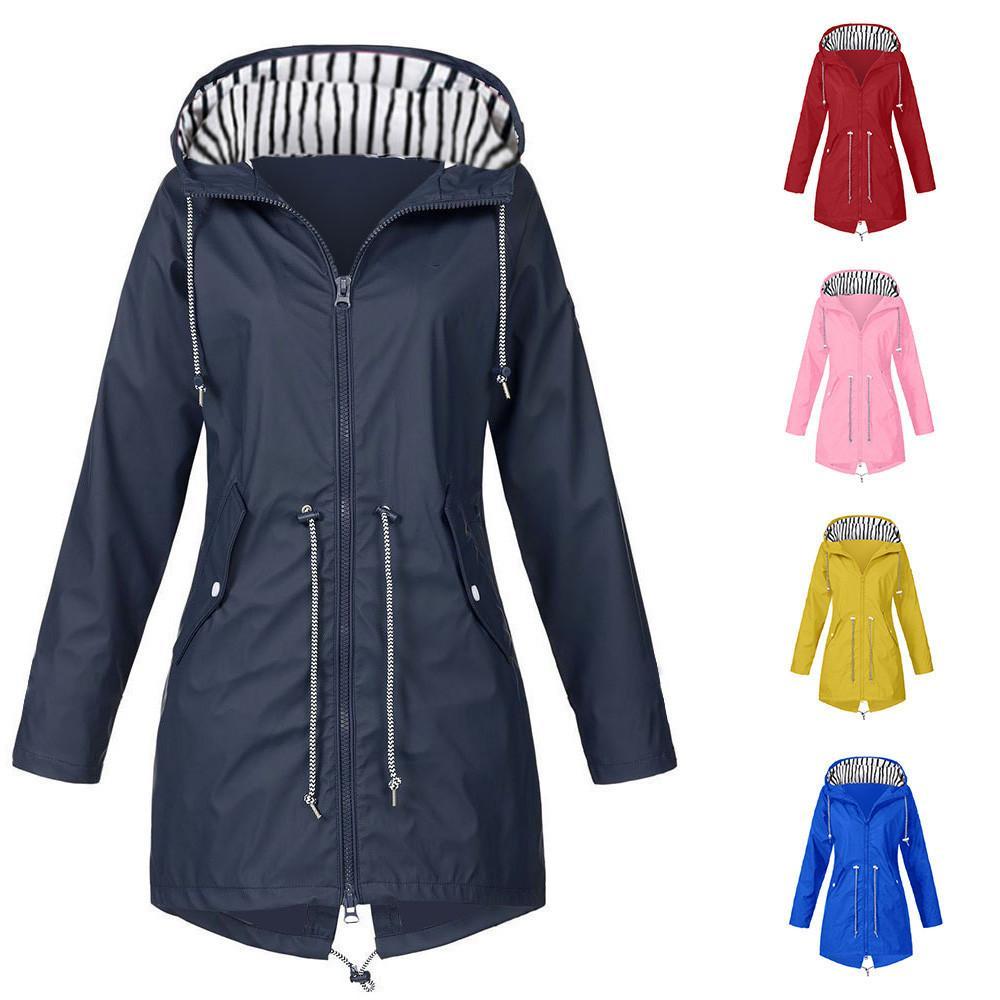 النساء جاكيتات الأزياء الإناث الصلبة المطر سترة في الهواء الطلق ماء مقنع معطف واقية معطف واقية خفيفة الوزن معطف الشتاء سترة # R10 20120