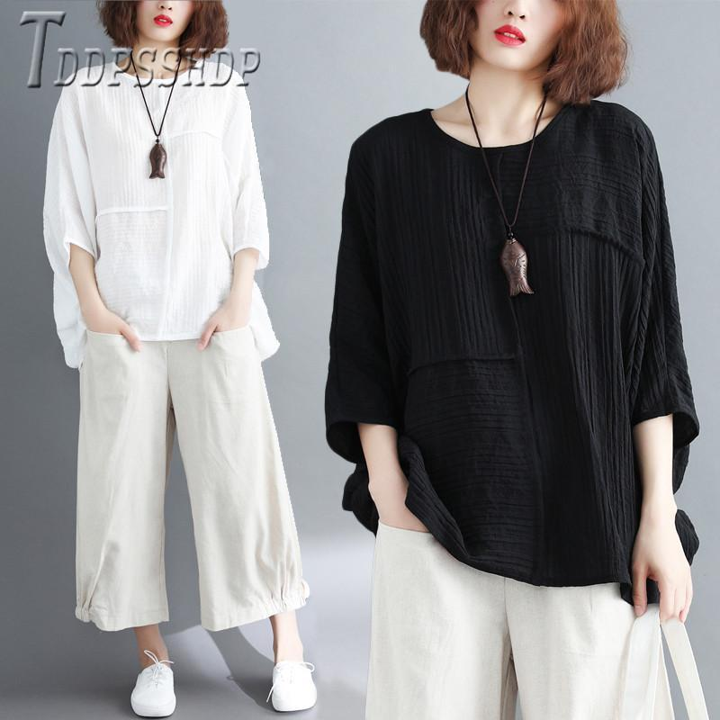 2021 Kore Yaz Artı Boyutu Kadın Bluz Katı Renk Yuvarlak Boyun Kadın Bluzlar