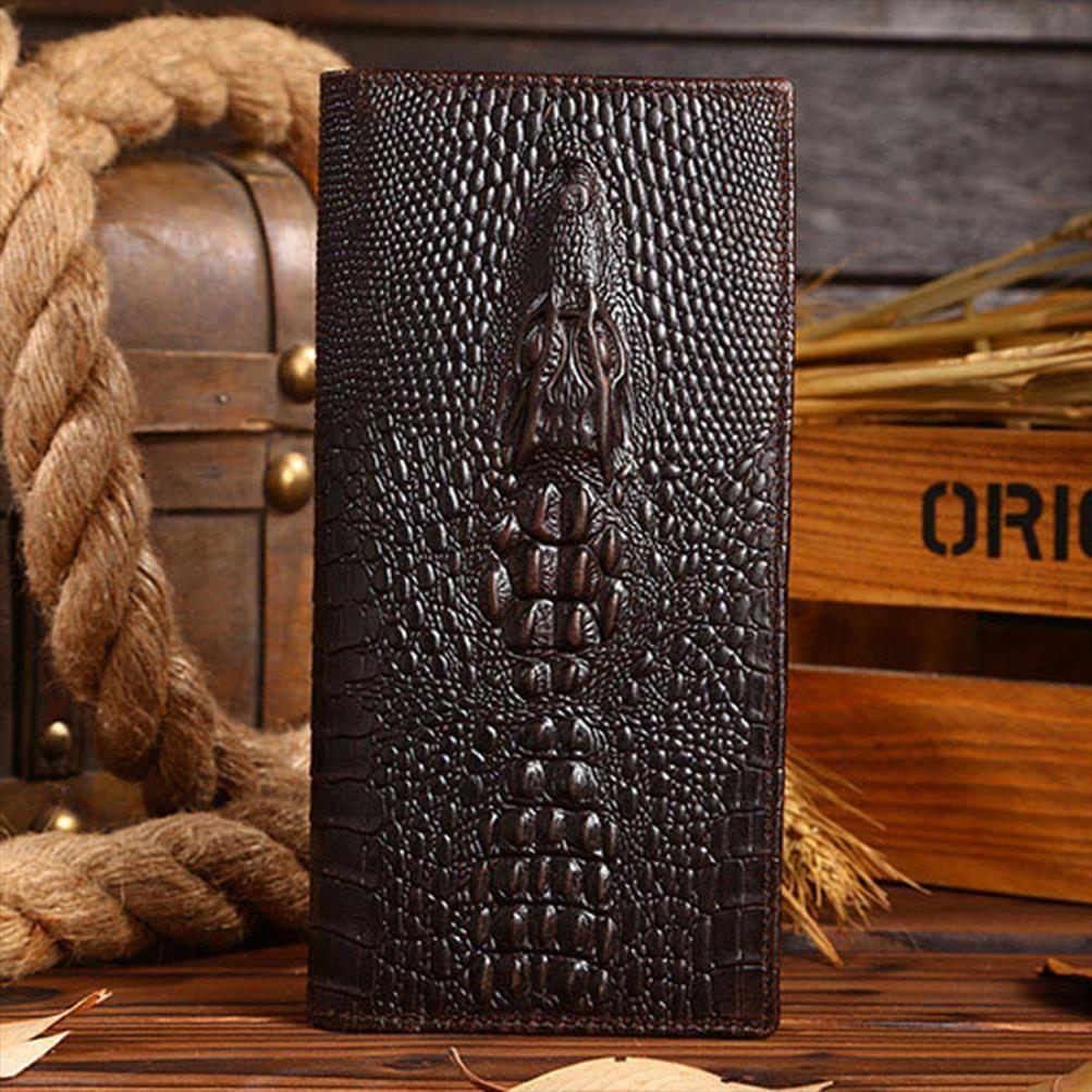 Alta Qualidade Men couro genuíno carteira longa Crocodilo Grain Cera Couro Masculino Multi Card Oil Titular Clutch saco do dinheiro Bolsa