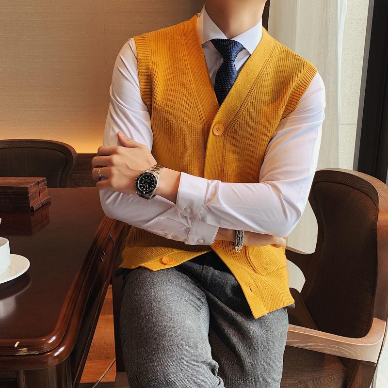 Giacca Autunno solido maglione di colore del cardigan della maglia Uomini senza maniche maglia Vest giallo senza maniche