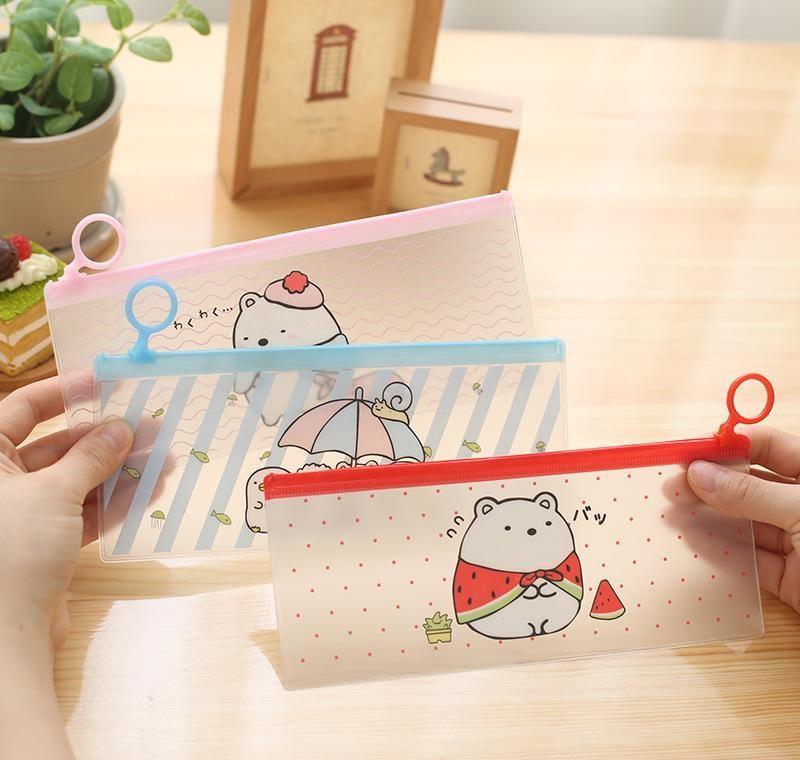 Wholesale- Dibujos animados lindo caja de lápiz anillo de sellado simple crea JLLLPLU BDESYBAG