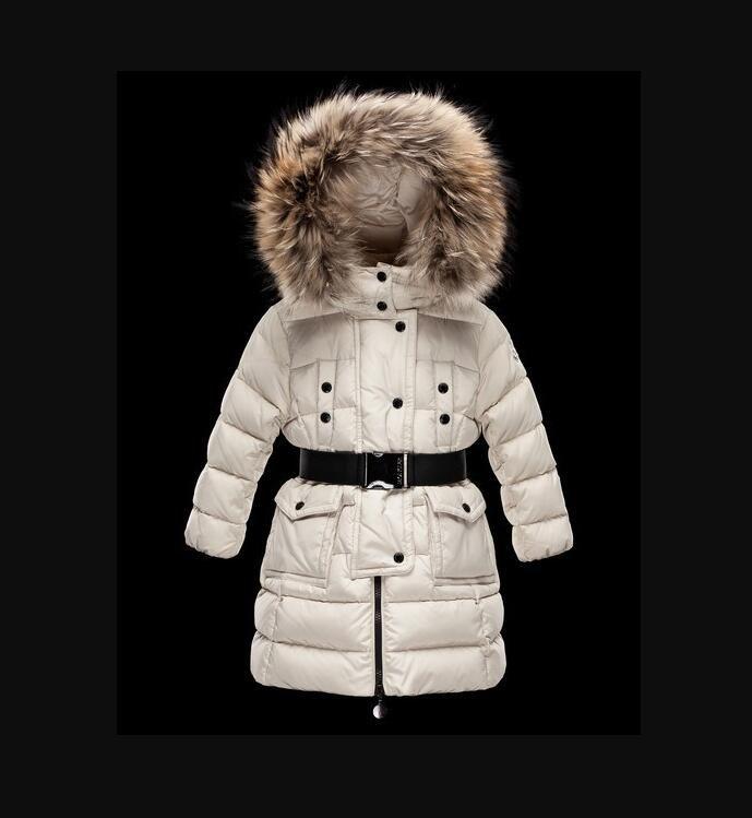 2021 Kinder Mädchen / Frauen Jungenjacke Parkas Mantel mit Kapuze für Mädchen warm dick Daunen Jacken Kinder mit Kapuze echt 100% Pelz Wintermäntel