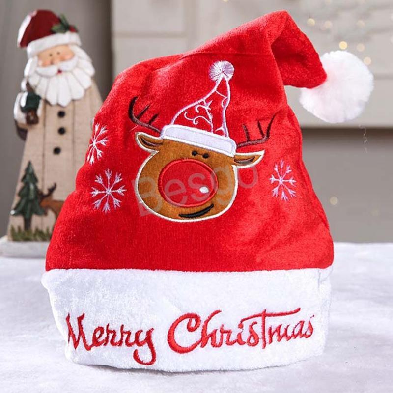 Anno nuovo costume adulto rosso bianco e Cappelli Cappello Cartoon Babbo Natale Rosso Natale Caps Decorazione di Natale pupazzo di neve Cappello BH1681 TQQ