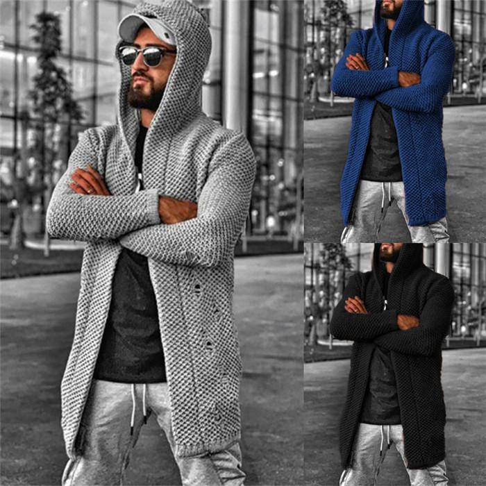 Plus Size Mens Cardigan Maglioni allentato Hole a maniche lunghe con cappuccio uomo maglione Cappotti Tinta unita Casual Uomo Autunno Inverno Maglieria