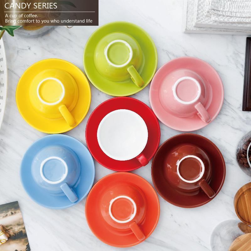 220ml Keramik Kaffeetasse mit Teller Saucer Set europäische Farbe Glasur Milch Cappuccino Latte Cup Kaffeetasse Set