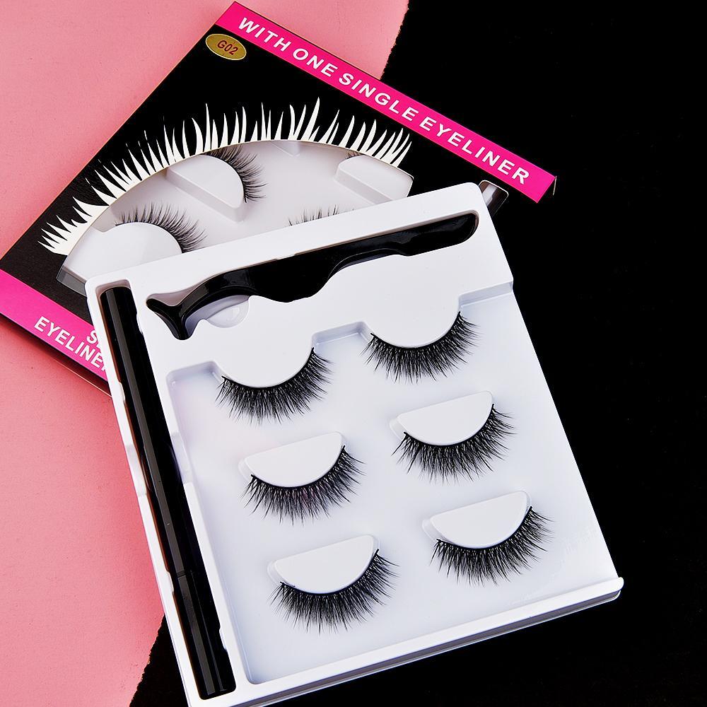 [Wimpern eingestellt für Makeup-005] 3 Paar Magnetwimpern sind sehr praktisch, um mit magnetischen falschen Wimpern kleiner Bündel Flusen zu installieren